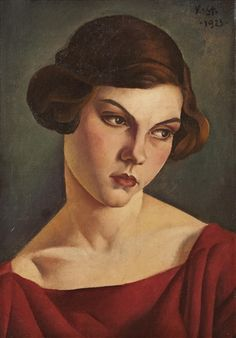 Veljko Stanojević (Serbia 1892-1967), Portrait of Marthe, oil on canvas, 1923. Sold at auction.