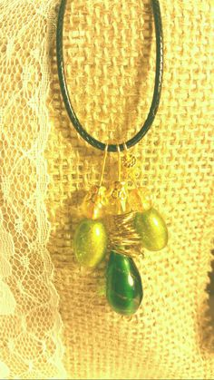 green glass bead necklace by SnoBirdBeads on Etsy