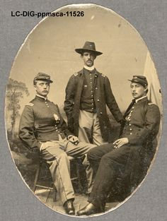 May 28, 1863 - The 54th Massachusetts Infantry left Boston for combat in the South.  LOC Photograph shows a full-length portrait of three officers of the 54th Massachusetts Infantry Regiment. Sitters have been identified as Second Lieutenant Ezekiel G. Tomlinson, Captain Luis F. Emilio (center), and Second Lieutenant Daniel G. Spear (National Archives records). http://www.barnesandnoble.com/s/-Georgiann-baldino