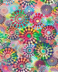 Crystalia - Prism Rosettes - DIGITAL PRINT - Quilt Fabrics from www.eQuilter.com