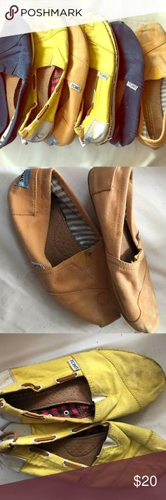 Lot of 3 Toms classics shoes size 6 and 6.5. Used Listing is for 3 classic Toms. All worn. The orange is size 6.5 and the other two are sz 6. Cleaning out the closet and was reluctant to throw away! TOMS Shoes Flats & Loafers