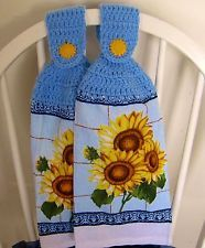 Blue Sunflower Kitchen Accesories | Crocheted Hanging Kitchen Towels  Sunflowers A Pair Of Cotton