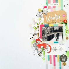 Winter layout by Amanda Baldwin featuring Crate Paper Snow & Cocoa collection for @paperissues #fallcrop
