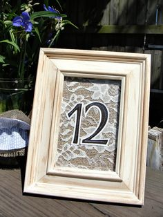 Wedding Table Numbers with Distressed Wood Frames, Rustic Burlap & Lace, 4x6 number opening, Table Decoration, in Your Custom Colors #EasyPin