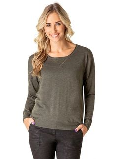 Chandra Sweater | Stylish lightweight sweater with lace detail on front.  Rhinestone embellished zipper and lace detail on back.  54% Polyester/20% Nylon/20% Acrylic/6% Wool.  Sizes S-XXL.  Available in army green.