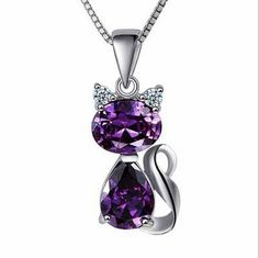 Check out this item in my Etsy shop https://www.etsy.com/ca/listing/493410277/amethyst-crystal-silver-cat-necklace