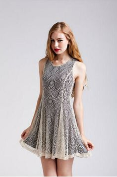 Sound Waves Lace Overlay Tank Dress :)