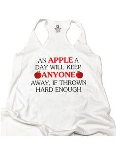"Women's ""An Apple A Day"" Racerback Tank by Glitz Apparel (White)"