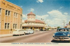 Genre:  postcard folder Year Created:  1960 Contributor:  Centre for the Government of Queensland Publisher:  Sydney G. Hughes Pty Ltd Headwords:  Surfers Paradise Paradise Hotel, Commercial Bank, Queensland Australia, Gold Coast, Taj Mahal, Surfers, Street View, History, Building