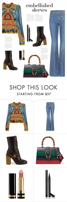 """Make a Statement: Embellished Sleeves"" by bliznec ❤ liked on Polyvore featuring Gucci, polyvoreeditorial, polyvorecontest and embellishedsleeves"