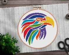 Eagle Cross Stitch Pattern, Animal XStitch, Colorful Cross Stitch Chart, Instant Download, Lion Cross Stitch, PDF Pattern, Template, Bird Cross Stitch Sea, Cross Stitch Geometric, Modern Cross Stitch Patterns, Embroidery Hoop Crafts, Bird Embroidery, Embroidery Patterns, Contemporary Embroidery, Mandala Coloring, Embroidery Techniques