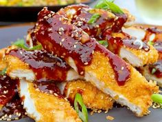 """General """"Guy's"""" Chinese Chicken Recipe : Guy Fieri : Food Network - If don't have mirin Guy suggests using Sauvignon Blanc in its place. Love Food, A Food, Food And Drink, Food Network Recipes, Food Processor Recipes, Cooking Recipes, Chinese Chicken Recipes, Asian Recipes, Wing Recipes"""