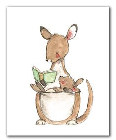 Look what I found on #zulily! Kangaroo Reading Print #zulilyfinds