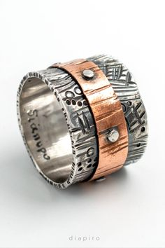 #Silver_ring #copper_ring #vintage_ring #contemporary_jewelry #women's_style #women's_fashion #wide_ring #two_tones_ring #hammered_ring #bikers_ring #handmade_ring