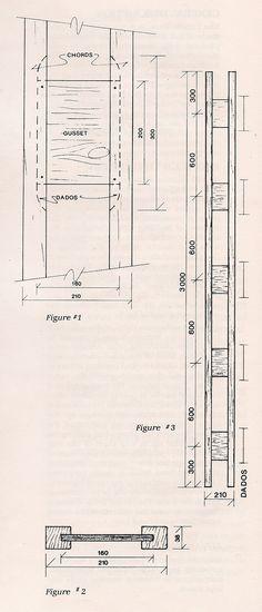 Этот подробный рисунок фермы Ларсена появился в брошюре Джона Ларсена 1982 года «Система ферм Ларсена». Длины показаны в миллиметрах;  210 мм составляет около 8 дюймов, а 600 мм - около 23 дюймов.