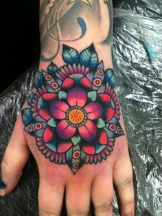 traditional geometric flower tattoos - Google Search