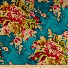 Covington Venus Basketweave Caribbean from @fabricdotcom Colors include deep teal, mustard yellow, fuchsia, pink, green, and pale yellow.