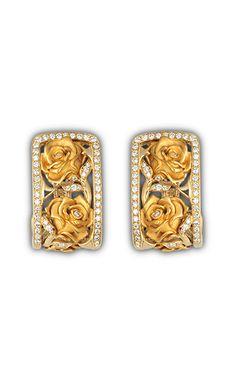 Earrings rosas big AR Yellow Gold and pavé diamond High Jewelry, Jewelry Art, Jewelry Accessories, Jewelry Design, Diamond Jewelry, Diamond Earrings, Versailles, Diamond Image, Chocolate Gold