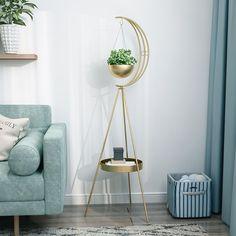 Living Room Plants, House Plants Decor, Plant Decor, Fake Plants Decor, Modern Plant Stand, Metal Plant Stand, Plant Stands, Moon Plant, Corner Plant