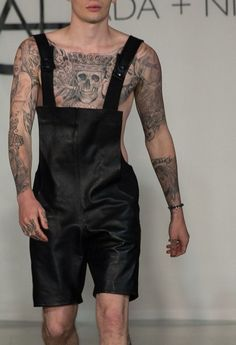 Black leather overall.
