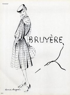Bruyère 1941 Dress, Drawing Denise Dupré