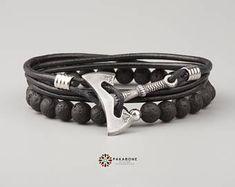 Knotwork Axe Brown Leather Hook Bracelet