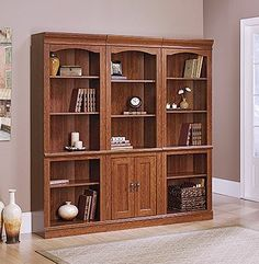 Library With Doors: Planked Cherry Finish
