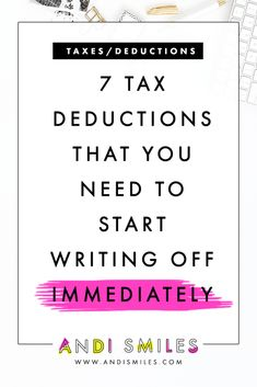 7 Tax Deductions That You Need to Start Writing Off – Finance tips for small business Inbound Marketing, Content Marketing, Media Marketing, Mobile Marketing, Marketing Plan, Internet Marketing, Digital Marketing, Business Planning, Business Tips