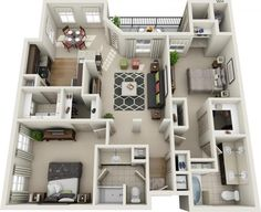 Layout, apartment design, two bedroom apartments, apartment plans, dream ap Small Apartment Layout, Apartment Design, 3d House Plans, Small House Plans, Apartment Floor Plans, Dream Apartment, Casa Clean, 3d Home, Two Bedroom Apartments