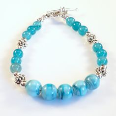 Women's Robin's Egg Blue with Silver Beaded Bracelet by DungleBees on Etsy