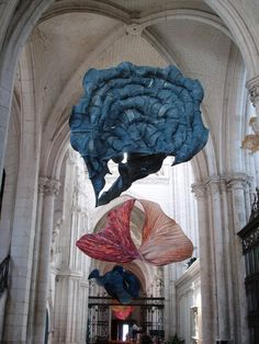 Ethereal Paper Sculptures by Peter Gentenaar, exhibition at the abbey church of Saint-Riquier, France