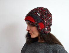 red Beanie hand knited retro cloche geometrical hat by ZOJKAshop, $32.00