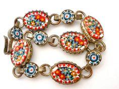 "Vintage Italian Micro Mosaic Bracelet Marked Italy 6"" Long Flower Girls Childs   eBay"