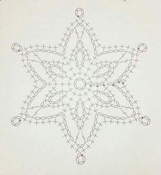 Crochet Snowflake Pattern, Crochet Stars, Crochet Snowflakes, Granny Square Crochet Pattern, Crochet Mandala, Crochet Diagram, Thread Crochet, Crochet Motif, Crochet Doilies