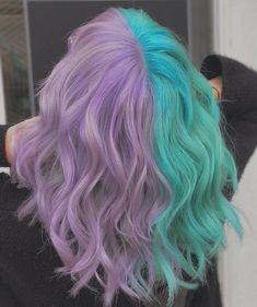 Cute Hair Colors, Hair Dye Colors, Cool Hair Color, Two Color Hair, Pastel Colors, Aqua Hair Color, Bright Hair Colors, Hair Color Highlights, Pastel Purple