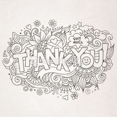 Thank You hand lettering and doodles elements background — Ilustración de stock #67410245