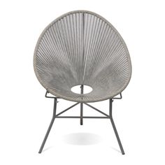 Inspired by 1950's Acapulco chairs the stylish Olivia chair with a Grey painted metal frame and woven rope cocoon seat offers the most relaxing occasional chair to have in any room