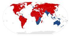 In den rot gefärbten Ländern fährt man auf der rechten Straßenseite:
