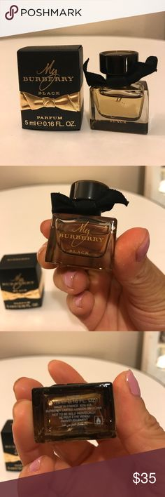 Burberry Black Perfume Travel Size Brand new. Inspired by the trench coat and its heritage of British design and craftsmanship, My Burberry captures the fragrance of a London garden after the rain. The scent is a contemporary British grand floral and features a delicate heart of rose woven with an unexpected touch of geranium leaf. Notes: Sweet Pea, Bergamot, Geranium, Golden Quince, Freesia, Patchouli, Rain-Tipped Damask and Centifolia Roses. Style: Effortless. Personal. Timeless. What else…