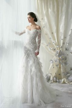 """ziad nakad bridal 2013 wedding dress off shoulder long sleeves - IS IT THE RIGHT ONE FOR YOU? - Read our tips on how to say """"YES to the Dress""""-http://www.dlgcreativemgmt.com/1/post/2013/01/tips-on-how-to-say-yes-to-the-dress.html"""
