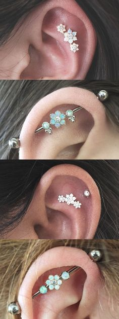Classy Multiple Ear Piercing Ideas at - Opal Industrial Barbell Piercings - Crystal Flower Cartilage Helix Constellation Stud Ear Piercings Industrial, Unique Ear Piercings, Multiple Ear Piercings, Cute Piercings, Industrial Barbell, Industrial Jewelry, Body Piercings, Bar Ear Piercing, Ear Piercings Cartilage