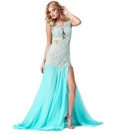 Stunning long aqua blue prom dress 2015 with applique bodice, dropped waist and side slit
