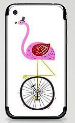 flamingo unicycler iphone skin (joanneliuyunn) Tags: pink hat illustration flamingo unicycle