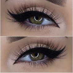 black #winged #eyeliner extended into the inner corner (with light color in lid + shimmery inner corner highlight) + lots of lashes for an easy sexy #makeup @miaumauve