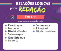 boa dica para redações independente do tema. Feito por um site externo (presente na imagem), apresenta bons conectivos para expressar ênfase em qualquer redação. Study Organization, Study Hard, Studyblr, School Hacks, Study Notes, Student Life, Study Motivation, Study Tips, School Supplies