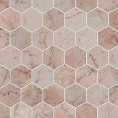Rosalina Hexagon Marble Mosaic tiles are supplied on a mesh-backed sheet approx. Hexagon Mosaic Tile, Marble Mosaic, Mandarin Stone, Honed Marble, Outdoor Tiles, Pink Marble, Grey And Gold, Natural Stones, Different Colors