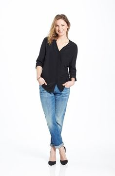 7 For All Mankind® Boyfriend Jeans & Trouvé Silk Blouse  available at #Nordstrom