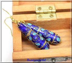 royal blue cloisonne bead earrings handmade earrings