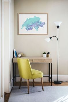 Stylish, abstract and unique map print of Switzerland's topography. Great home decor for any room or office. Perfect for an anniversary or birthday gift, or just to remind you of your travels.A high resolution topography map print and travel poster of Switzerland in a line elevation, stack plot style.