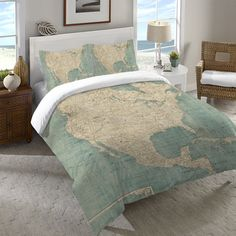 Shop for Laural Home Map of North America Duvet Cover. Get free shipping at…